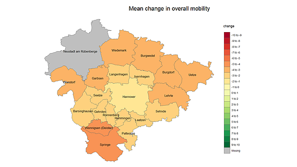 Mean change in overall mobility